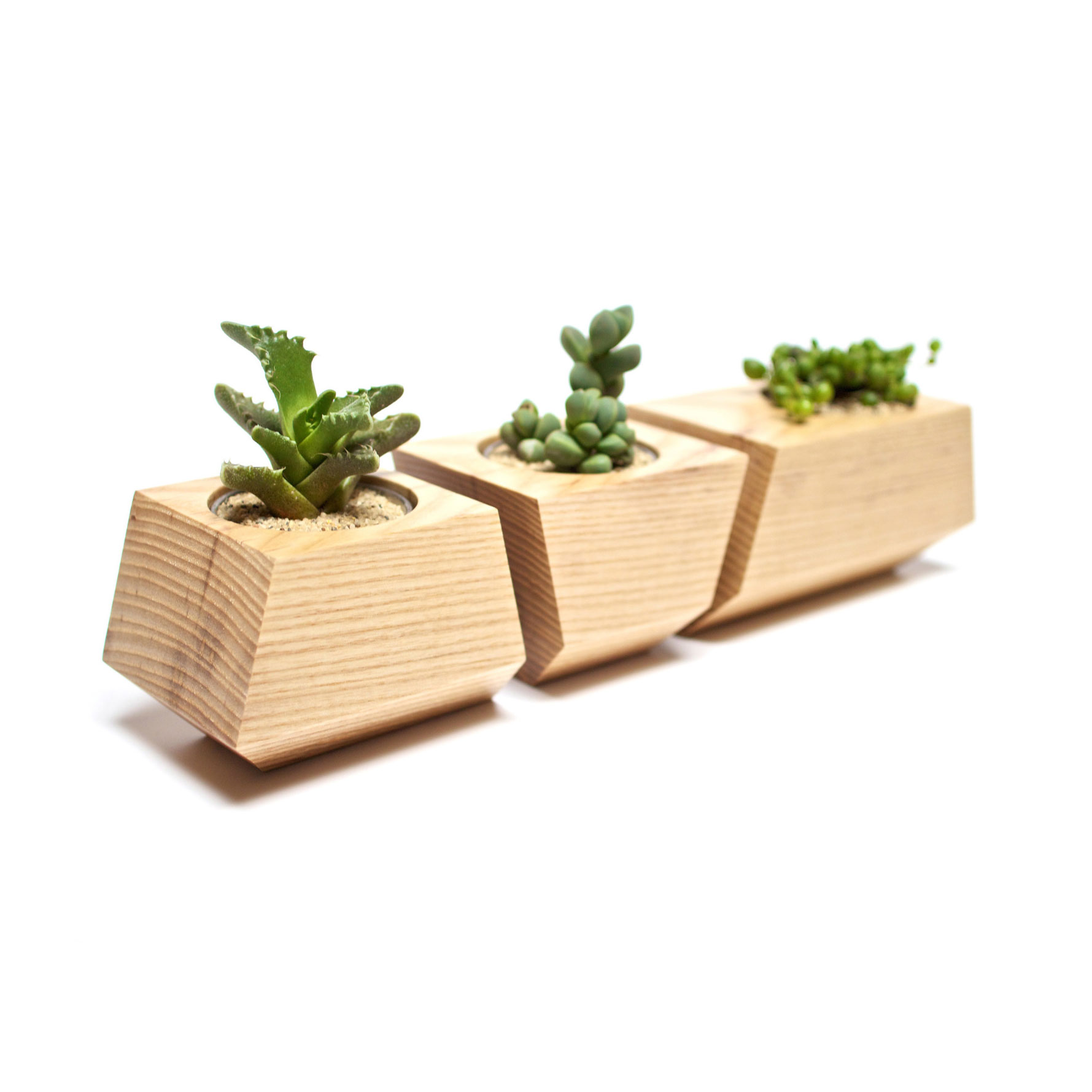 3 Pc Solid Ash Wood Planters In Natural Harry S Used
